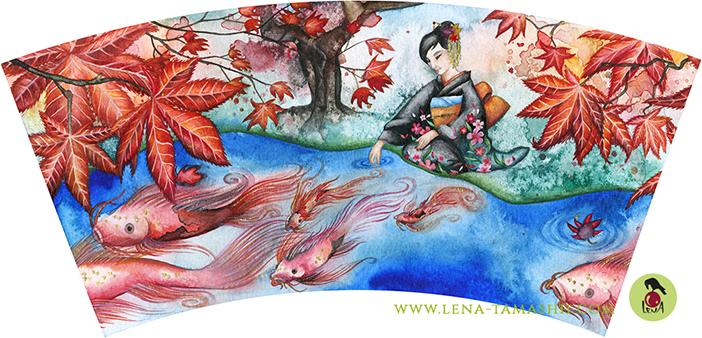Teebecher Illustration Aquarell watercolor Malerei painting Japan Herbst autumn fall koi