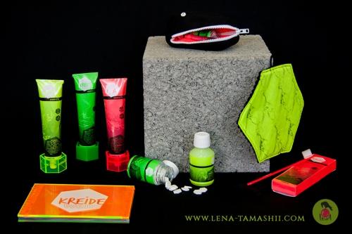 dental care 5 Zahnpflege kreideweiß packaging design illustration verpackungsdesign neon dinosaurier dinosaur